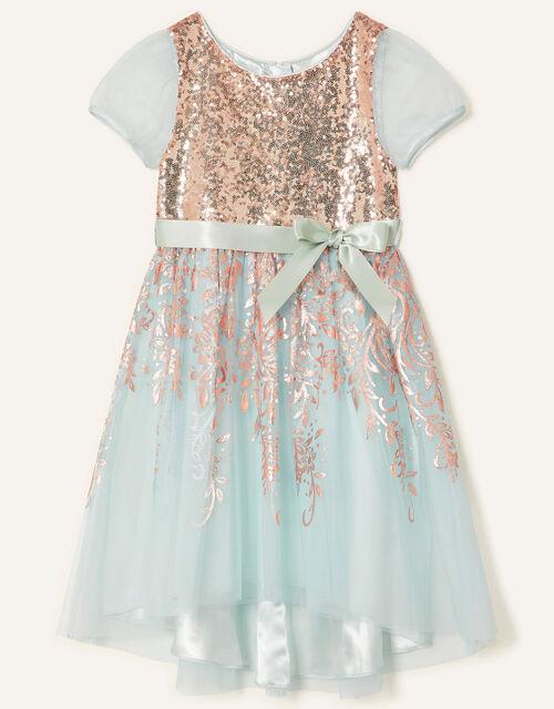 Sequin Foil Print Dress , Teal (DUCK EGG), large