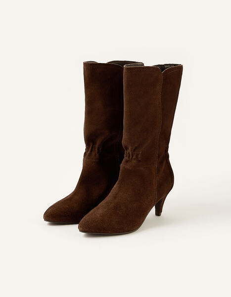 Mid-Calf Suede Boots Brown, Brown (CHOCOLATE), large