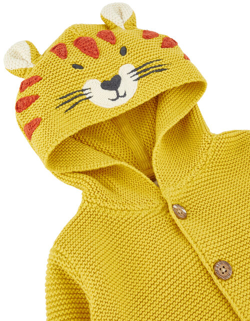 Newborn Baby Lion Cardigan in Knitted Cotton, Yellow (MUSTARD), large