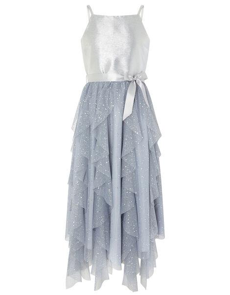 Ruffle Maxi Prom Dress Silver, Silver (SILVER), large