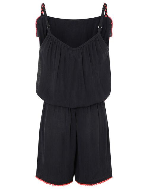 Maxime Pom-Pom Playsuit in LENZING™ ECOVERO™, Black (BLACK), large