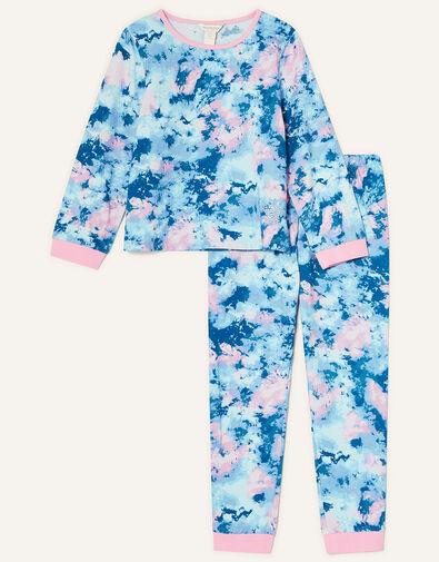 Melanie Tie Dye Star Pyjama Set Blue, Blue (BLUE), large