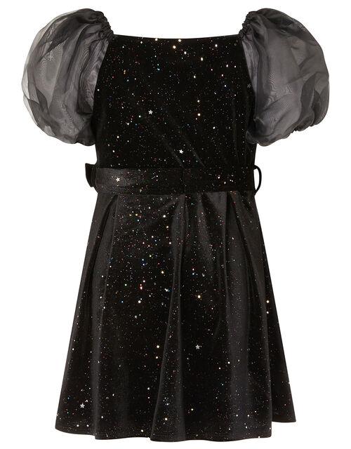 Puff Sleeve Sparkle Velvet Dress, Black (BLACK), large