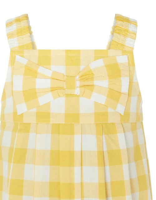 Baby Bow Check Jumpsuit in Pure Cotton, Yellow (YELLOW), large