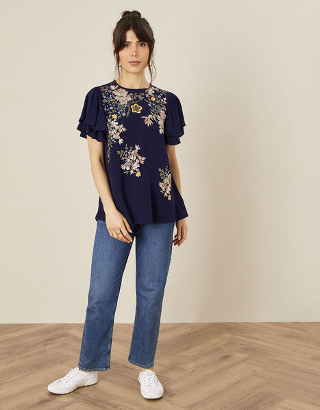 Floral Embroidered Top Blue, Blue (NAVY), large