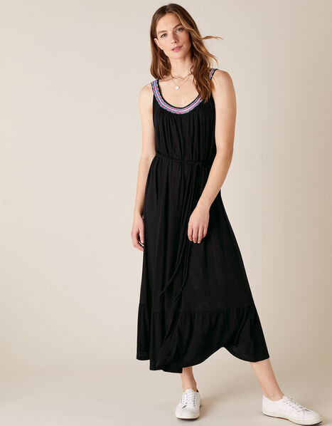 Embroidered Neck Jersey Dress in  Black, Black (BLACK), large