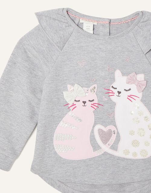 Baby Cat Sweatshirt and Leggings Set, Grey (GREY), large