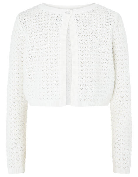 Ivory Pebble Knit Cardigan in Organic Cotton Ivory, Ivory (IVORY), large