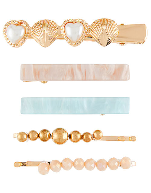 Pearly Resin and Bead Hair Clip Set, , large