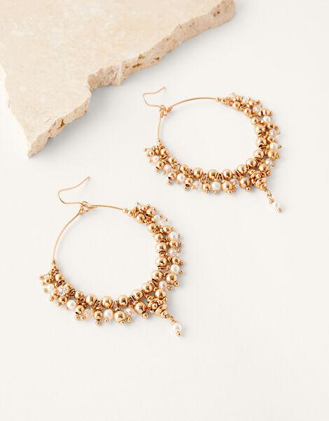 Pearl and Bead Hoop Earrings, , large