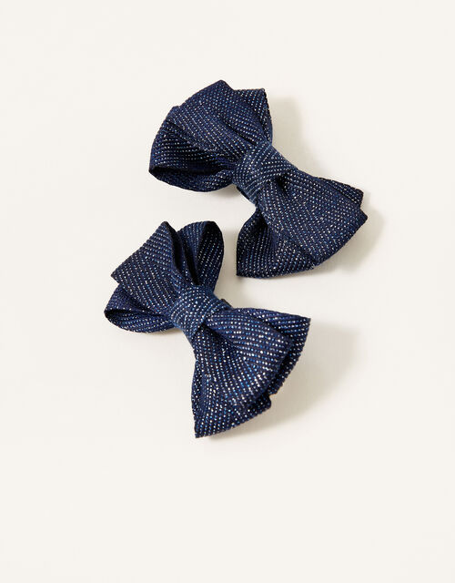 School Shimmer Bow Hair Clips, , large