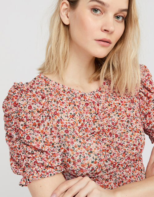 Fia Floral Mesh Top, Pink (PINK), large