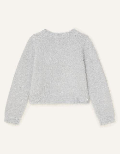 Sequin Bow Fluffy Cardigan, Grey (GREY), large