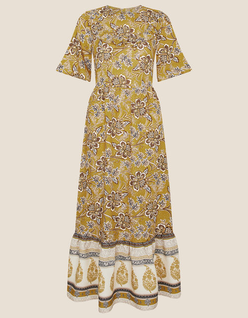 Suranne Heritage Print Bib Dress, Yellow (OCHRE), large