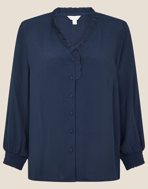 Frill Neck Button Blouse, Blue (NAVY), large