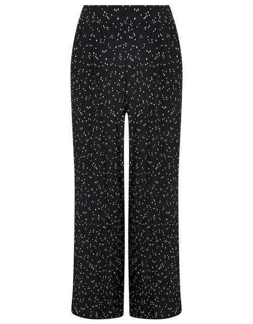 Poppy Spot Print Plisse Trousers, Black (BLACK), large