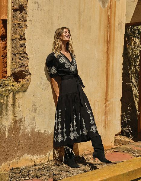 Enya Embroidered Jersey-Mix Dress Black, Black (BLACK), large