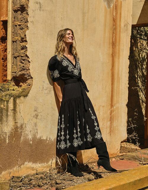 Enya Embroidered Jersey-Mix Dress, Black (BLACK), large