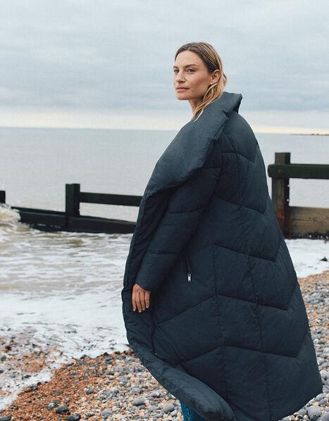 Longline Hooded Padded Coat Grey, Grey (CHARCOAL), large