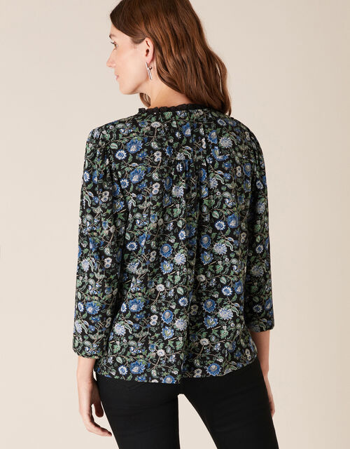 Floral Print Top with Organic Cotton, Black (BLACK), large