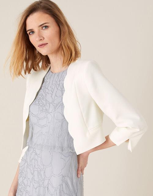 Samantha Scallop Trim Jacket, Ivory (IVORY), large