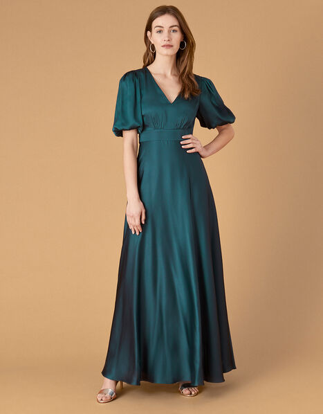 Kristen Puff Sleeve Satin Dress Teal, Teal (TEAL), large