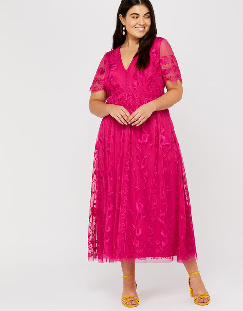 Valentina Embroidered Midi Dress, Pink, large