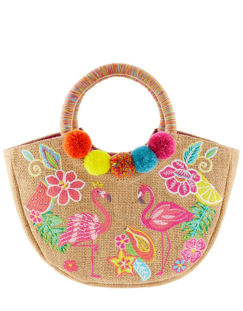 Tropical Paradise Embroidered Woven Bag, , large