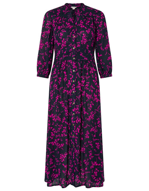 Dolly Floral Midi Dress in LENZING™ ECOVERO™, Blue (NAVY), large