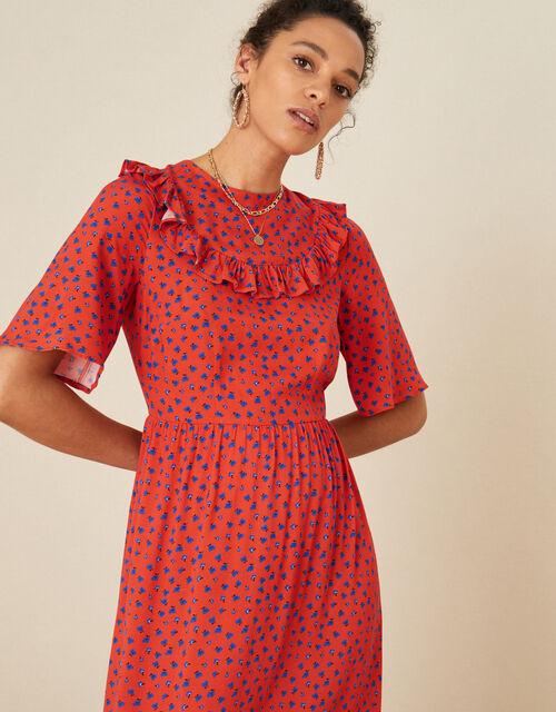 Rhian Frill Bib Printed Dress, Red (RED), large