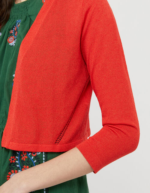 Pandora Pointelle Shrug in Linen Blend, Red (RED), large