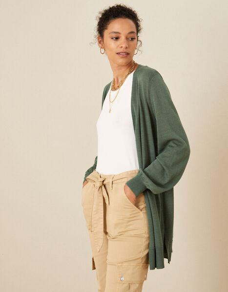 Longline Cardigan in Linen Blend Green, Green (KHAKI), large