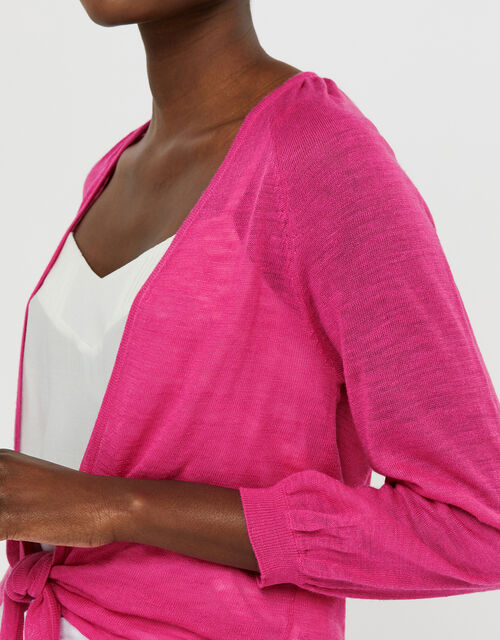 Libby Tie Shrug in Linen Blend, Pink (PINK), large