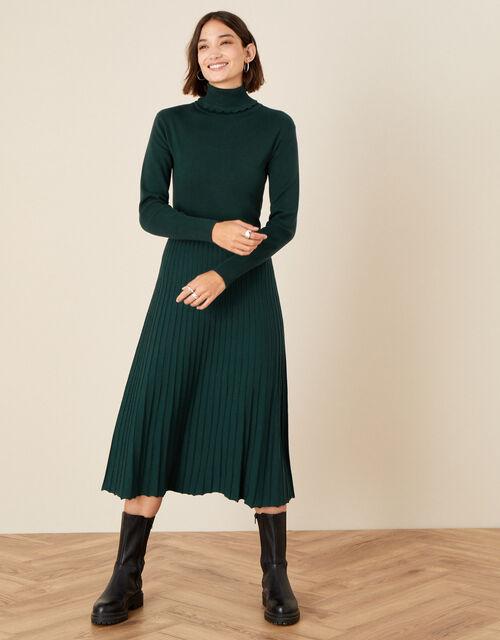 Scallop Roll Neck Dress, Green (DARK GREEN), large