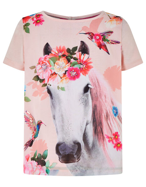 Sienna Horse T-Shirt with Sequins Pink, Pink (PINK), large