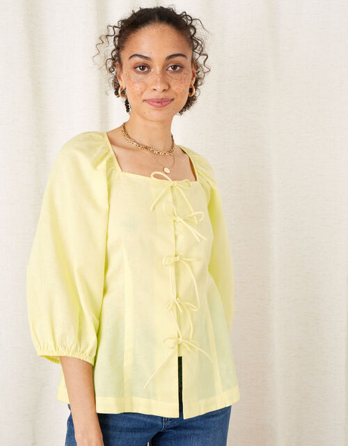 Tie Front Blouse in Linen Blend, Yellow (YELLOW), large