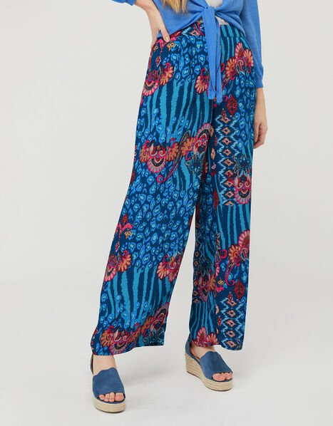 Mercy Printed Wide-Leg Trousers in Sustainable Viscose Blue, Blue (NAVY), large