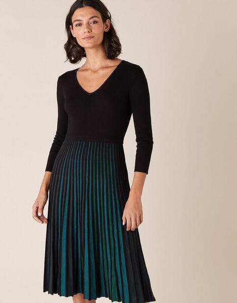 Pleated Colour Insert Midi Dress Black, Black (BLACK), large