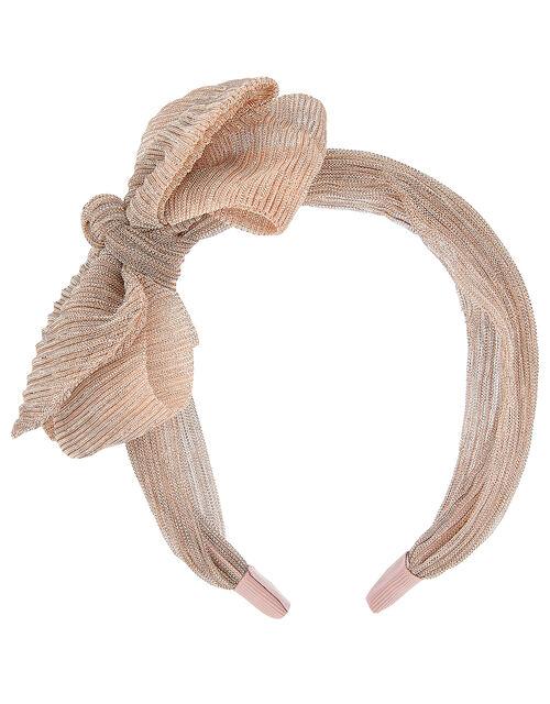 Shimmer Bow Pleated Headband, , large