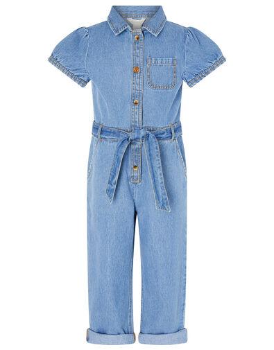 Denim Puff Sleeve Jumpsuit Blue, Blue (BLUE), large