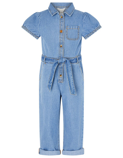 Denim Puff Sleeve Jumpsuit Blue, Blue (BLUE), large