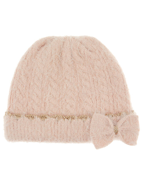 Poppy Sparkle Bow Knit Beanie Hat, Pink (PINK), large