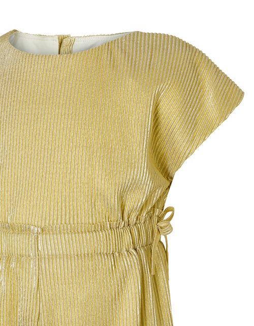Gia Metallic Plisse Jumpsuit, Gold (GOLD), large
