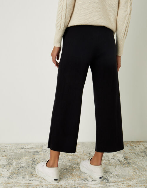 LOUNGE Wide-Leg Trousers with Sustainable Viscose, Black (BLACK), large