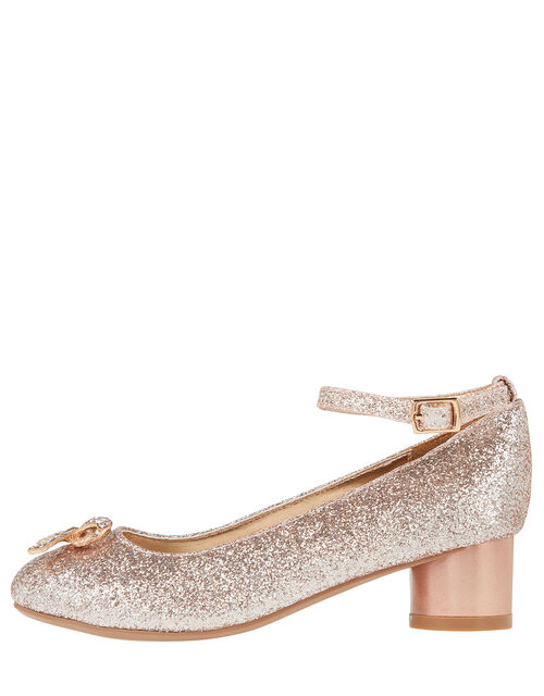 Mika Glitter Diamante Bow Heeled Shoes, Gold (ROSE GOLD), large