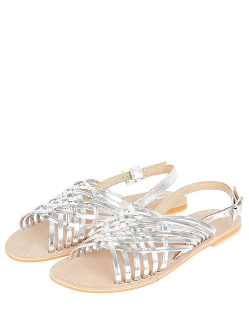 Metallic Weave Leather Sandals, Silver (SILVER), large