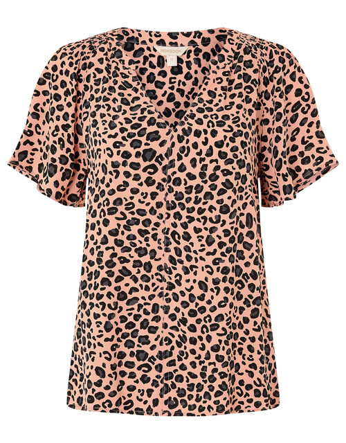 Animal V-Neck Top with LENZING™ ECOVERO™, Pink (PINK), large