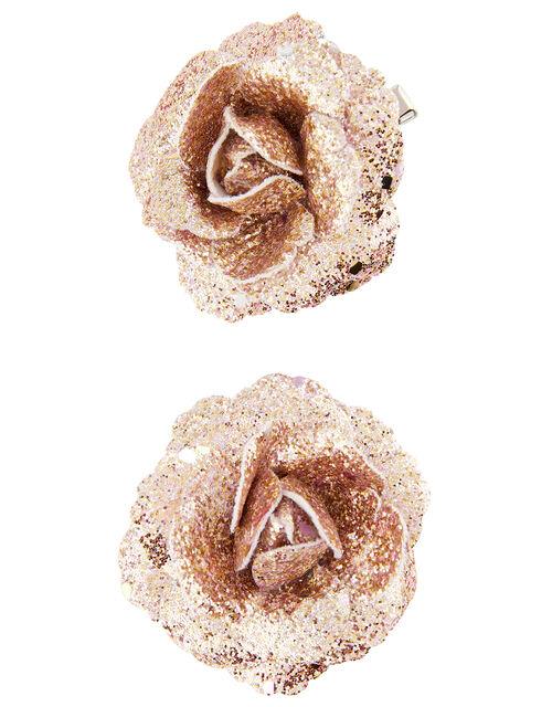 Fantasy Glitter Flower Hair Clips, , large