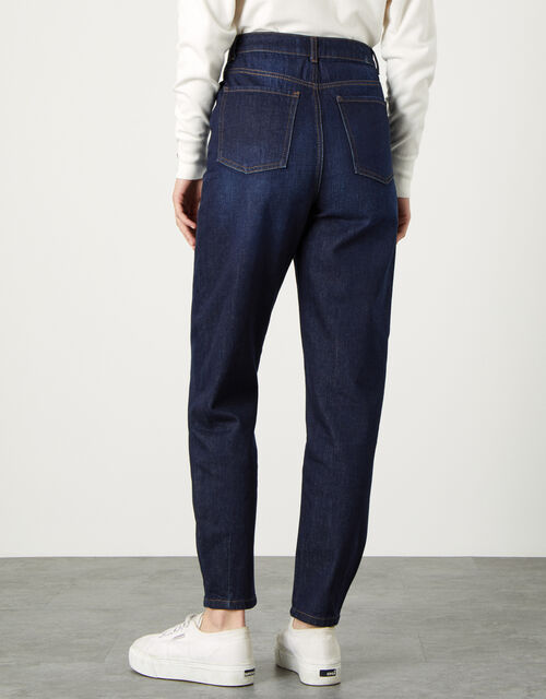 Barrel Jeans with Recycled Cotton, Blue (INDIGO), large