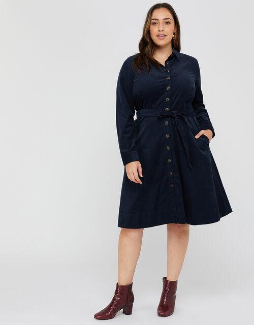 Coralie Cord Midi Dress, Navy, large